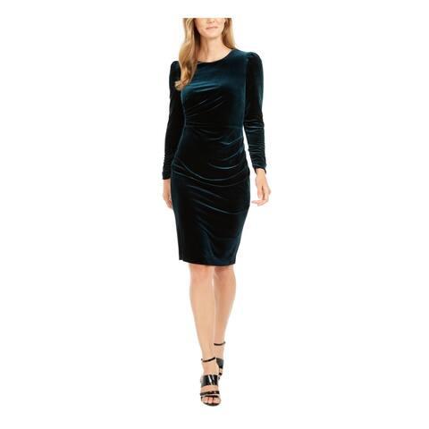 CALVIN KLEIN Green Long Sleeve Knee Length Dress 16