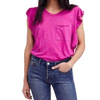 We The Free Purple Women's Size Small S Ruffle Pocket Knit Top