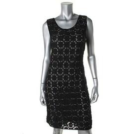 Studio M Womens Crochet Striped Wear to Work Dress - L