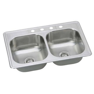 """Proflo PFSR332284 33"""" Double Basin Drop-In Stainless Steel Kitchen Sink with Sound Absorption Technology - 4 Holes Drilled"""