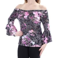 INC Womens Gray Floral Bell Sleeve Off Shoulder Top  Size: M