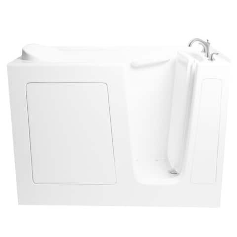 "Ariel EZWT-3054-R-DUAL 60"" Walk In Whirlpool Air Bath Tub Combo with Right Hand Roman Tub Filler Faucet - White"