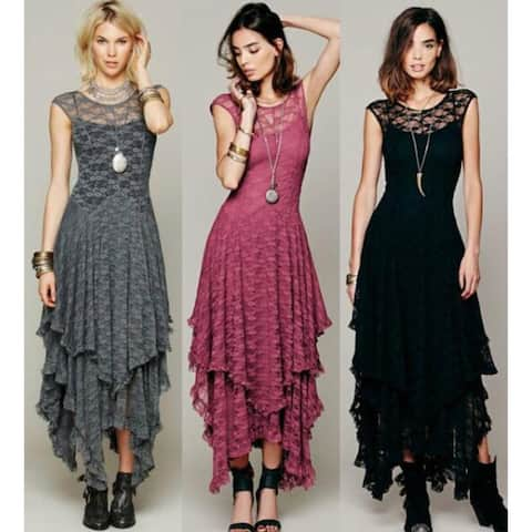 High And Low Lace hot Long Dress