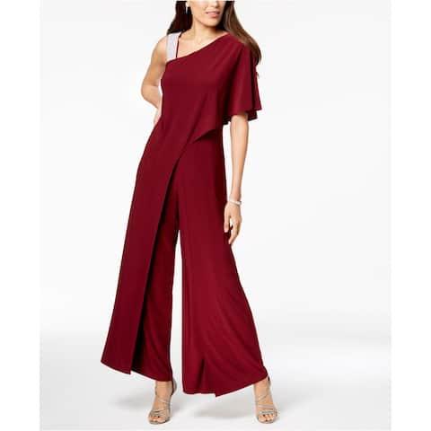 R&M Ricahrds Women Jumpsuit Red Wine Size 18W Plus Embellished Wide-Leg