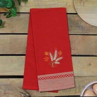 28 Red Colored Embroidered Wheat with Autumn Leaves Kitchen Towel
