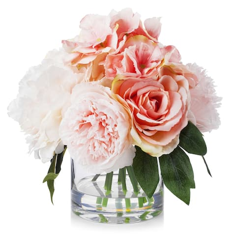 Enova Home Pink Mixed Artificial Silk Peony and Roses Fake Flowers Arrangement in Clear Glass Vase for Home Office Decoration