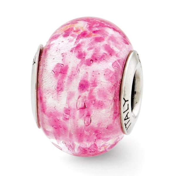 Italian Sterling Silver Reflections Pink Murano Glass Bead (4mm Diameter Hole)