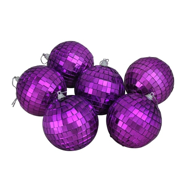 "6ct Purple Mirrored Glass Disco Ball Christmas Ornament 3.25"" (80mm)"