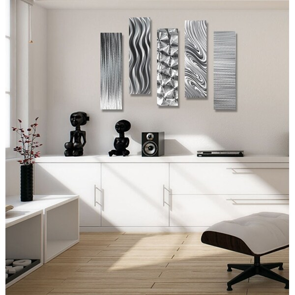 Statements2000 Silver Metal Wall Art Accent Panels by Jon Allen (Set of 5) - 5 Easy Pieces