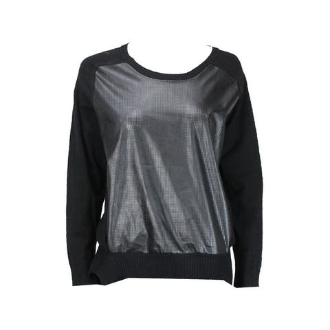 Alfani Black Faux-Leather-Panel Sweater L