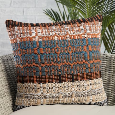Merethe Indoor/ Outdoor Orange/ Blue Trellis Pillow