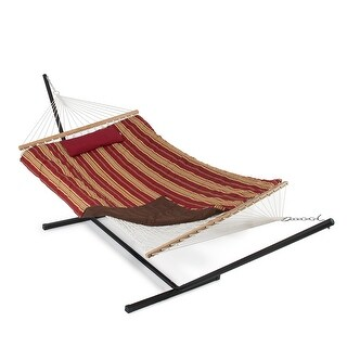 Belleze 12 ft Rope Hammock Combo with Stand, Pad and Pillow, iPad and Cup Holder (Red and Tan Stripe)