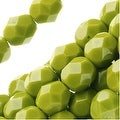 Czech Fire Polished Glass Beads 6mm Round 'Opaque Olive' (25) - Thumbnail 0