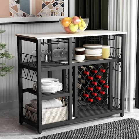 Kitchen Dining Room Metal Wine Rack Table