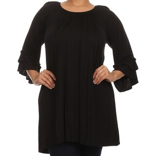 Women Plus Size Half Sleeve Solid Off Shoulder Casual Tunic Top Dress Black
