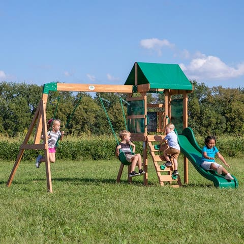 Backyard Discovery Buckley Hill All Cedar Wooden Swing Set