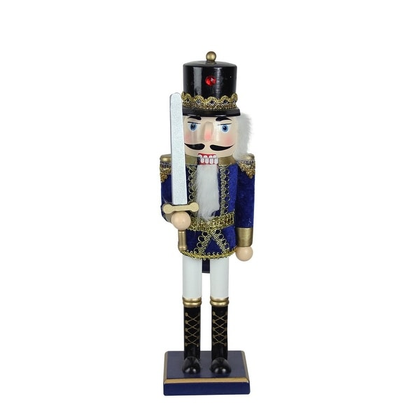 """14"""" Blue, White and Gold Wooden Christmas Nutcracker Soldier with Sword - BLue"""
