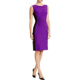 Diane Von Furstenberg Womens Cocktail Dress Colorblock Gathered - 10