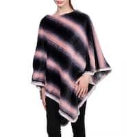 QZUnique Women's Sweater Cape Pullover Stitching Color Shawl Knit Wrap