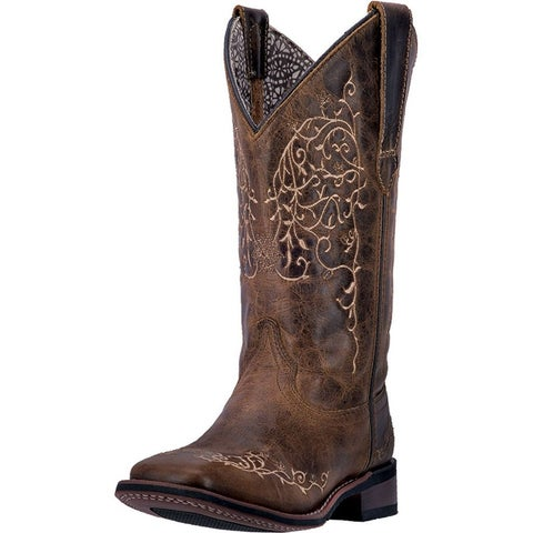 Laredo Western Boots Women 11 Stitch Broad Square SH Taupe Aged