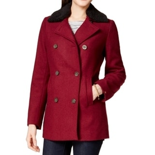 Tommy Hilfiger NEW Red Women's Size XS Peacoat Wool Double-Breast Coat
