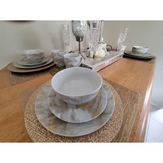 """Safdie & Co. 16-piece Marbled Grey and Gold Porcelain Dinnerware Set - 10'5"""" x 0'5"""""""