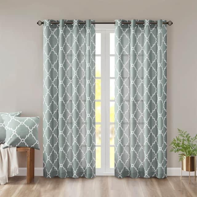 "Madison Park Westmont Fretwork Print Pattern Single Curtain Panel - 50""W x 108""L - Seafoam"