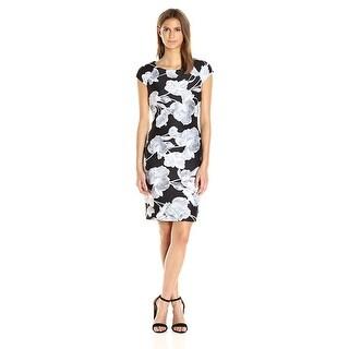 Tommy Hilfiger Floral Print Cap Sleeve Scuba Sheath Dress Black/White - 16