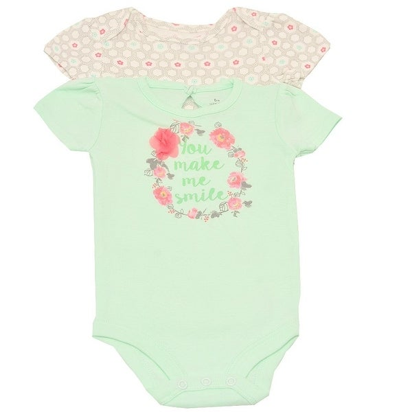 Baby Girls Green Pink Floral Garland Short Sleeve 2 Pc Bodysuit Set