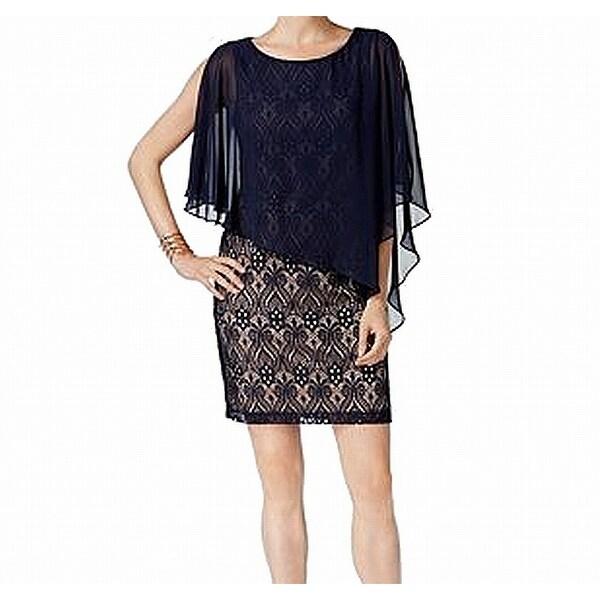 d1f481be Shop Connected Apparel Navy Blue Womens 10 Capelet Lace Sheath Dress ...