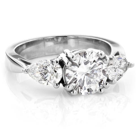 Three Stone GIA Round & Pear Diamond Engagement Ring 3ctw in Platinum by Luxurman