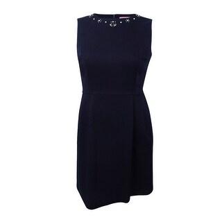 Tommy Hilfiger Women's Embellished Fit & Flare Dress - Navy