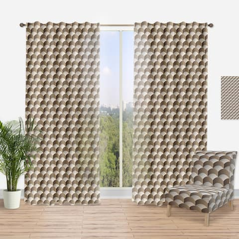 Designart 'Abstract Scale 3D Pattern' Scandinavian Curtain Panel