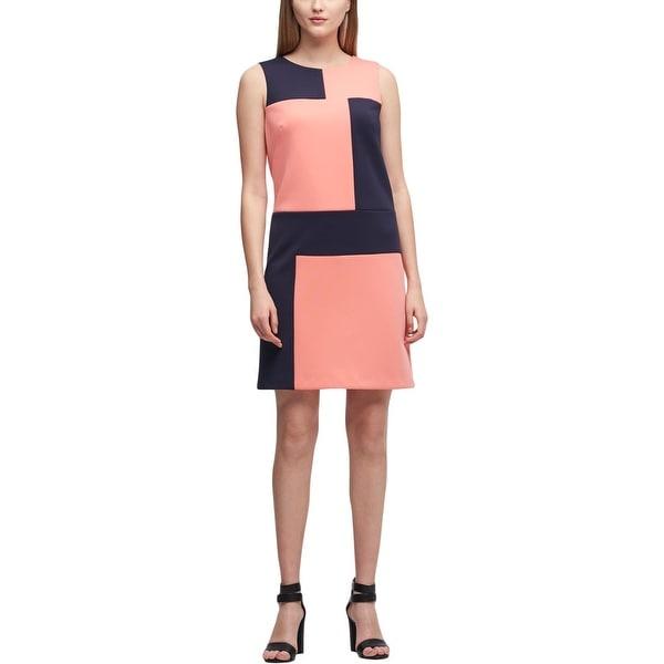 DKNY Womens Mini Dress Colorblock Sleeveless