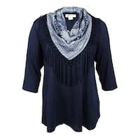Style & Co. Women's Plus Size Top with Fringe Scarf - industrial blue