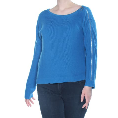 BAR III Womens Blue Zippered Long Sleeve Jewel Neck Sweater Size: XL