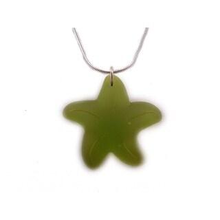 "Charming Shark Boys Glass Starfish Necklace 18"" Lime"