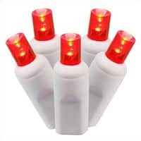 Set Of 50 Red Commercial Grade LED Wide Angle Christmas Lights -