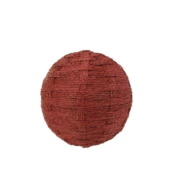 "4"" Country Cabin Worn Red Basket Weave String Ball Decoration"