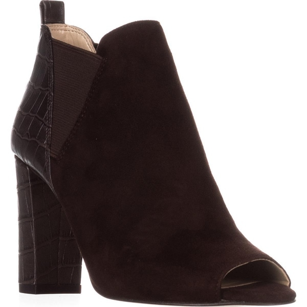 Marc Fisher Sayla Peep Toe Ankle Booties, Browm Multi Suede - 5 us