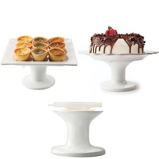Fusionbrands Serve It Up Large Cake Plate Stand - White  sc 1 st  Overstock.com & Modern 10 12 and 14 Inch Pedestal Cake Plates (Set of 3)by Studio ...