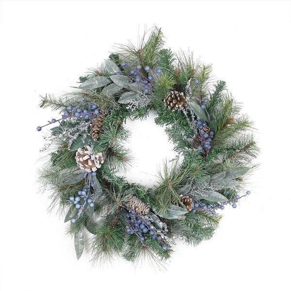 """24"""" Mixed Pine, Blueberries and Snowy Pine Cones Artificial Christmas Wreath - Unlit"""