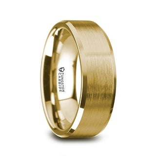 THORSTEN - HONOR Gold Plated Tungsten Beveled Polished Edges Flat Ring with Brushed Center (More options available)