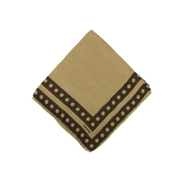 Tom Ford Two Tone Brown Circle Double Border Pocket Square