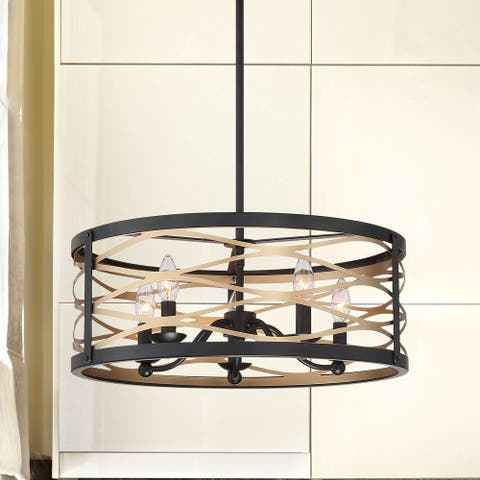 "Transitional and Contemporary 5 Light Drum Chandelier - 8""x20.5""x20.5"""