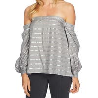 1. State Gray Womens Size Medium M Striped Off Shoulder Blouse