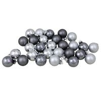 """28-Piece Silver and Gray Collection Glass Ball Christmas Ornament Set 1"""" (38.1mm)"""