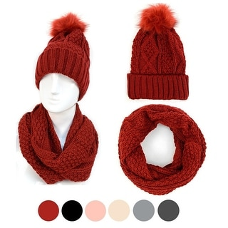 Link to Solid Color 2pc Knit Hat & Infinity Scarf Winter Set For Women - Regular Similar Items in Scarves & Wraps