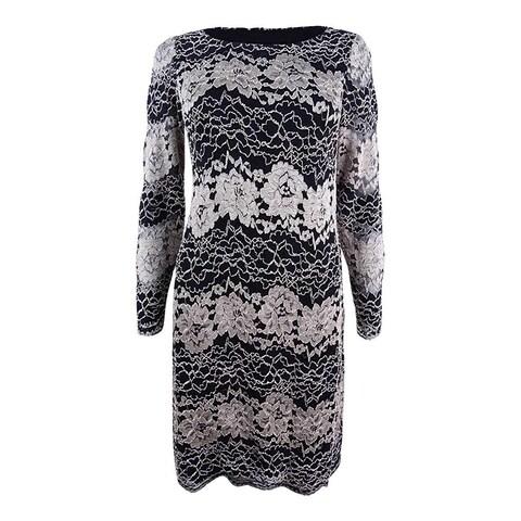 Jessica Howard Women's Petite Lace Sheath Dress, Black/Tan, 14 Petite