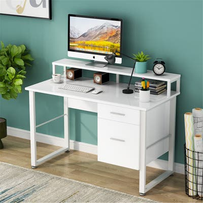 47 Inches Computer Desk with Hutch & 2 Drawers Storage